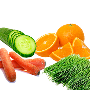 Cucumber/ Carrot/ Orange Juice/ Wheat Grass Powder